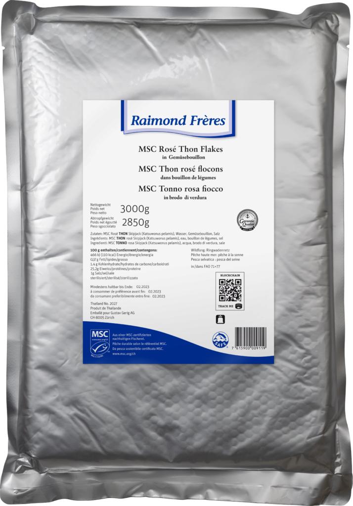 Raimond Frères MSC Pink tuna vegetable broth flakes (101715)