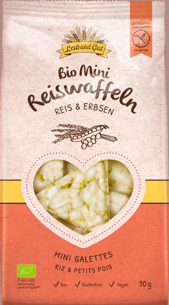 Leib und Gut Mini crackers rice & peas BIO (110655)