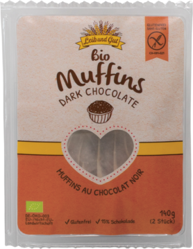 Leib und Gut Muffins dark chocolate organic – glutenfree (110403)